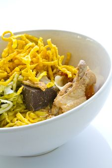 Egg Noodle With Chicken Curry Stock Photo