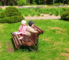 Little Boy And Girl In Park Royalty Free Stock Photo