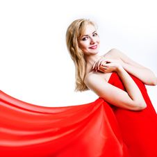 Free Red, Beautiful Blonde In A Red Dress Royalty Free Stock Photography - 18071237