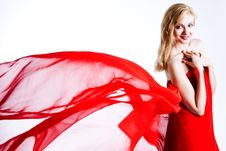Free Red, Beautiful Blonde In A Red Dress Stock Photo - 18071260