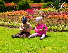 Free Boy And Girl Playing In The Park Stock Images - 18071474