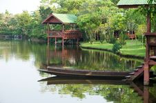 Thai Boat And Waterfront Pavilion Royalty Free Stock Photo