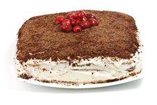 Free Homemade Cram Cake With Chocolate And Cherries Stock Photography - 18072382