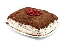 Free Homemade Cram Cake With Chocolate And Cherries Stock Photography - 18072412