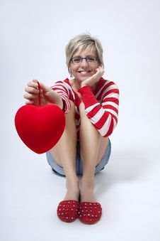 Free Woman Portrait With Red Heart Stock Image - 18073211