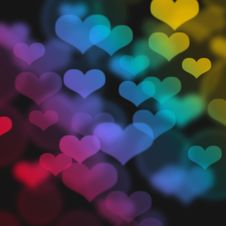Abstract Lights With Hearts Royalty Free Stock Photos