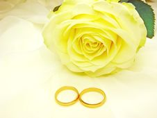 Yellow Rose And Wedding Rings Stock Photos