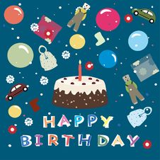 Free Happy Birthday - Greeting Background For Kids Royalty Free Stock Image - 18075546