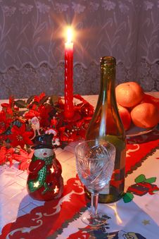 Free New Year S Setting With Wine, Glass, Tangerines Stock Images - 18075974