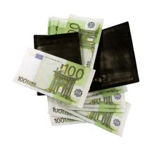 Free Black Purse With Lots Of Banknotes Stock Photo - 18075980