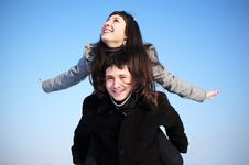 Free Happy Couple On Blue Sky Stock Photos - 18076813