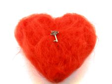 Red Heart With Silver Key Royalty Free Stock Image