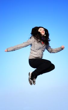 Free Happy Girl Jumping Stock Images - 18076894