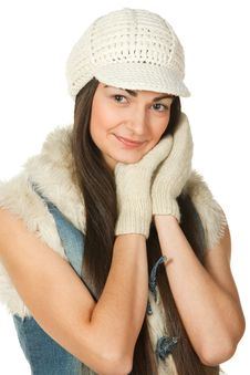 Free Portrait Of Young Female In The Knitted Cap Royalty Free Stock Image - 18076996