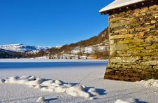 Free Boathouse On Frozen Rydal Water Stock Photo - 18077350