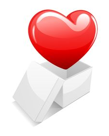 Open White Gift Present Box With Shiny Heart Royalty Free Stock Images