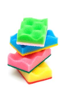 Red, Yellow, Green And Blue Sponge Stock Photography