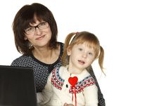 Grandmother And Granddaughter With Laptop Stock Image