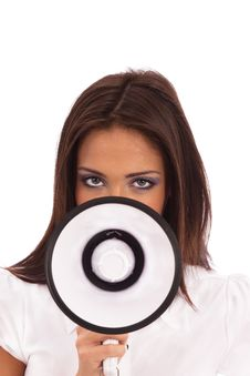 Free Business Woman Megaphone Royalty Free Stock Photo - 18079535