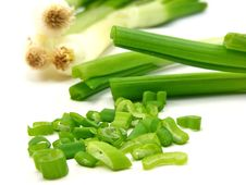 Chopped & Whole Spring Onions Stock Photography