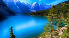 Moraine Lake, Banff National Park, Beautiful Landscape, Alberta, Canada, Valley Of The Ten Peaks Royalty Free Stock Photo