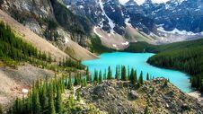 Moraine Lake, Valley Of The Ten Peaks, Banff National Park, Alberta, Canada, Beautiful Landscape Stock Photos