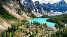 Moraine Lake, Valley Of The Ten Peaks, Banff National Park, Beautiful Landscape, Alberta, Canada Royalty Free Stock Photos