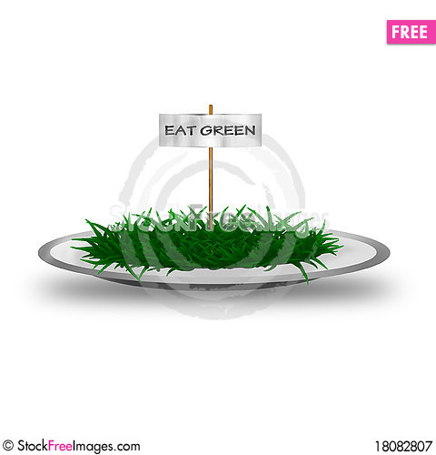 Free Plate With Green Grass And Text Eat Green Royalty Free Stock Photography - 18082807