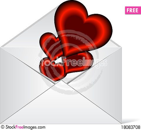 Free Hearts In Love Coming Out From A Envelope Royalty Free Stock Photos - 18083708