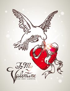 Free Dove Holding A Red Heart Decorated With Bow. Royalty Free Stock Image - 18080116