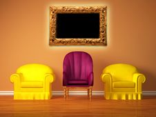 Free Chairs With A Purple Chair And Picture Frame Royalty Free Stock Images - 18080289