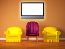 Free Two Yellow Chairs With A Purple Chair And Lcd Tv Royalty Free Stock Photo - 18080305