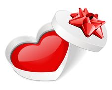 Free Open Gift Heart With Red Heart Royalty Free Stock Photo - 18080635