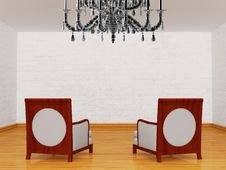 Free Two Luxurious Chairs With Chandelier Royalty Free Stock Image - 18080696
