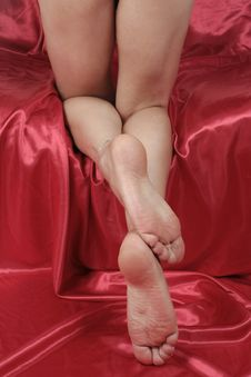 Woman Feet And Legs Isolated Over Red Royalty Free Stock Image