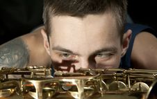 Free Closeup Youngman Look On Saxophone Stock Photo - 18081100