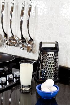 Background Of Modern Kitchen And Eggs, Milk Stock Photo