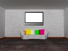 Free Room With White Couch And Lcd Tv Royalty Free Stock Image - 18081546
