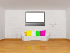 Free Room With White Couch, Table, Lamp And Lcd TV Stock Image - 18081621