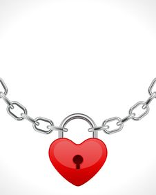 Free Red Shiny Heart Lock On Chain Royalty Free Stock Photos - 18081848