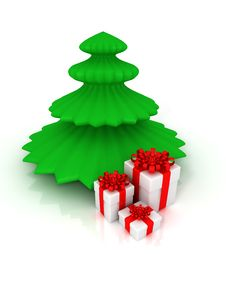 Free Christmas Tree And Gifts Stock Photos - 18082723