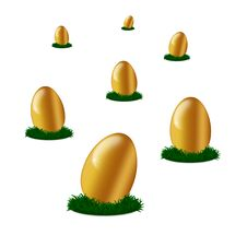 Free Golden Egg S On Green Grass Isolated Royalty Free Stock Photo - 18082765