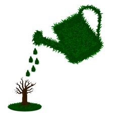 Free Watering Tree With Green Grass Watering Can Stock Photography - 18083052