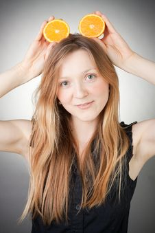 Free Beautiful Young Woman Has Orange Ears Stock Image - 18083401