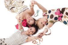 Girls Posing To The Camera Royalty Free Stock Image