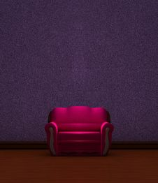 Pink Couch In Purple  Interior Royalty Free Stock Photos