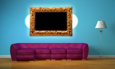Free Purple Sofa With Oval Bookshelf, Lamp And Frame Stock Photos - 18084033