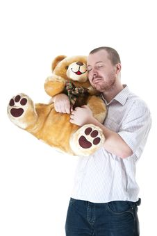 Free Man With Teddy Bear Stock Images - 18084314