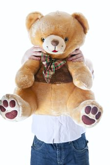 Free Man With Teddy Bear Stock Image - 18084341
