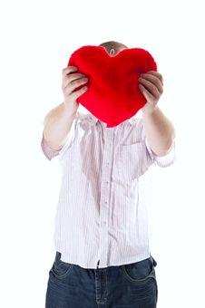 Free Man With Plush Heart Stock Photos - 18084363
